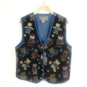 Vintage Teddy Bear Button Down Embroidered Vest